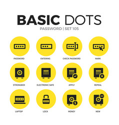 password flat icons set vector image vector image