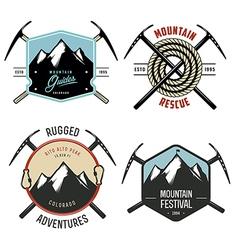 Set of vintage mountain explorer labels and badges vector