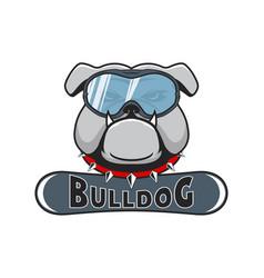 snowboarding logo bulldog in the snowboarding mask vector image