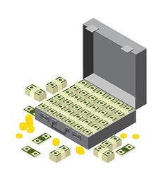 suitcase of money wads of dollars and coins In vector image