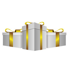 white gift boxes with gold ribbon icon vector image