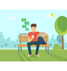 Young man sitting in the street and texting vector image