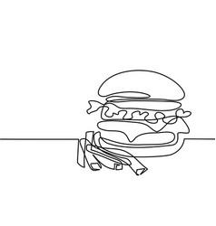 big hamburger with french fries vector image vector image