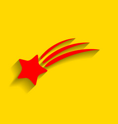 shooting star sign red icon with soft vector image vector image