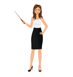 business woman with pointer teacher character vector image
