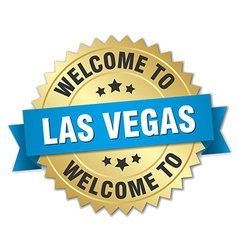 Las Vegas 3d gold badge with blue ribbon vector image vector image