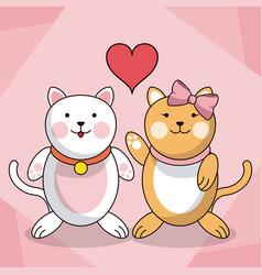 Loving couple cats animal baby heart decoration vector