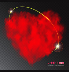 red heart of fog or smoke with ray of light vector image vector image