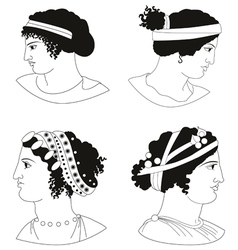 Set of images of ancient Greek women heads vector image vector image