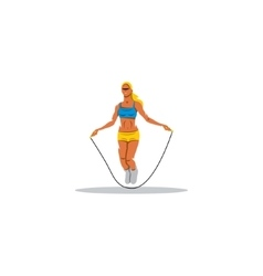 Young girl jumping rope sign vector image