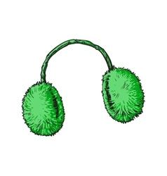 Bright green fluffy fur ear muffs vector image