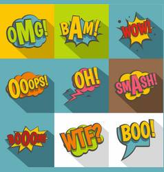 comic speech bubbles icon set flat style vector image