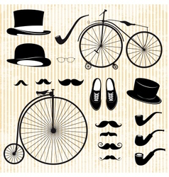 set of the gentleman and bicycle vector image vector image