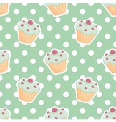 Tile pattern with cupcakes and polka dots vector image vector image