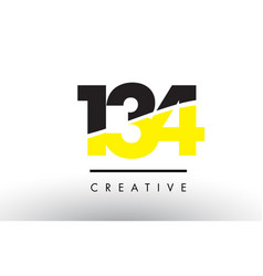 134 black and yellow number logo design vector