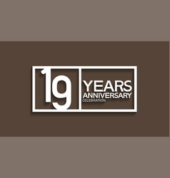 19 years anniversary logotype with white color vector