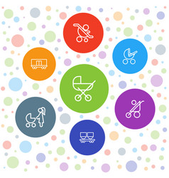 7 carriage icons vector