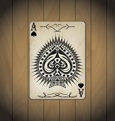 Ace spades poker cards old look varnished wood vector