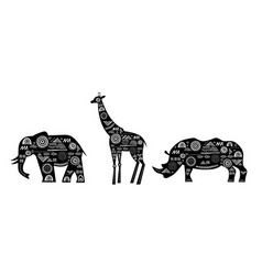 Africa banner with patterned giraffes elephant vector