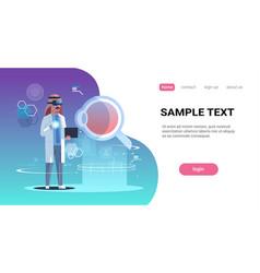 Arab doctor wearing digital glasses virtual vector