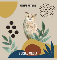 Autumn season social media frame layout vector