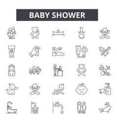 baby shower line icons for web and mobile design vector image