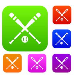 Baseball bat and ball set collection vector