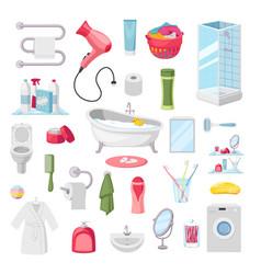 bathroom accessories personal hygiene items vector image