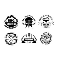 Bbq logo barbecue and steak house emblems vector