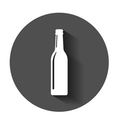 beer bottle icon in flat style alcohol bottle vector image