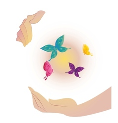 Being shone sphere with butterflies in hands vector