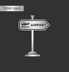 Black and white style icon airport sign vector