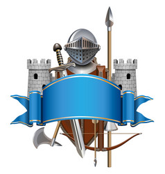 Blue banner with knight armor vector