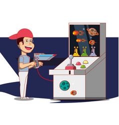 Boy playing with video game console vector
