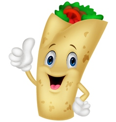 burrito cartoon character giving thumbs up vector image