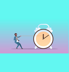 Businessman pulling clock arrow deadline time vector