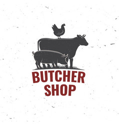 Butcher shop badge or label with cow beef pork vector