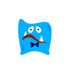 cartoon flat disappointed monsters blue icon vector image