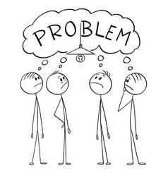 Cartoon group men or businessmen solving vector