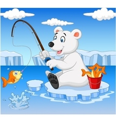 Cartoon polar bear fishing vector