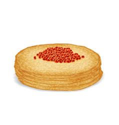 Caviar on hot pancake food 3d realistic decoration vector