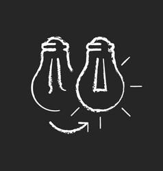 changing lightbulb chalk white icon on dark vector image
