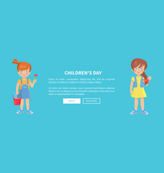 childrens day web banner with playful kids girls vector image