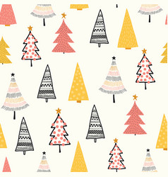 christmas doodle trees background seamless vector image