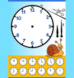 Clock face cartoon educational worksheet vector