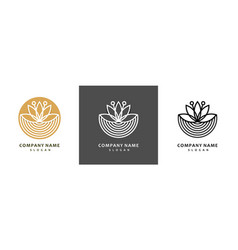 colorful lotus logo set royal lotus flower for vector image
