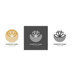 Colorful lotus logo set royal lotus flower vector