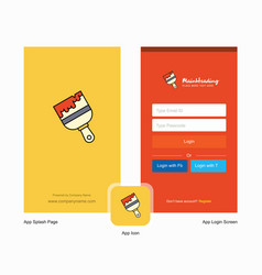 company paint brush splash screen and login page vector image