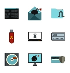 Cracking icons set flat style vector
