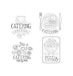 Creative catering service logos in sketch style vector